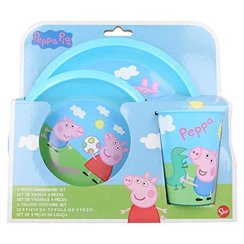   PEPPA PIG   Set Vajilla Infantil - Resistente   Servicio de Mesa libre de BPA para niños y bebés - 3 Piezas: Vaso, Plato y Cuenco