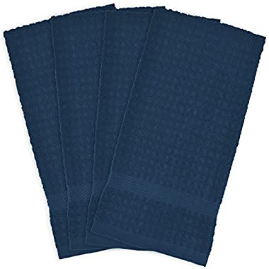DII Cotton Waffle Terry Dish Towels, 15 x 26  Set of 4, Ultra Absorbent, Heavy Duty, Drying & Cleaning Kitchen Towels-Blue