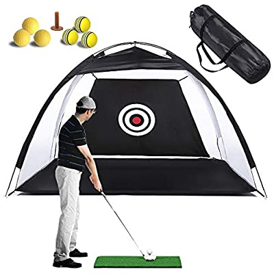Lateefah Golf Net Golf Hitting Nets for Backyard Driving Golf Training Aids with Target Carry Bag Practice Nets Golf, Indoor Outdoor Golf Practice Net(3M,Black)