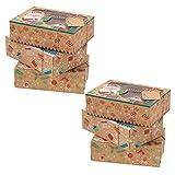 VALICLUD Cajas de Galletas de Papel Kraft de Navidad Cajas de Panadería Navideña Cajas de Regalo Pastelería Regalo de La Magdalena Cajas de Muffins de Dulces con Ventana Etiquetas de