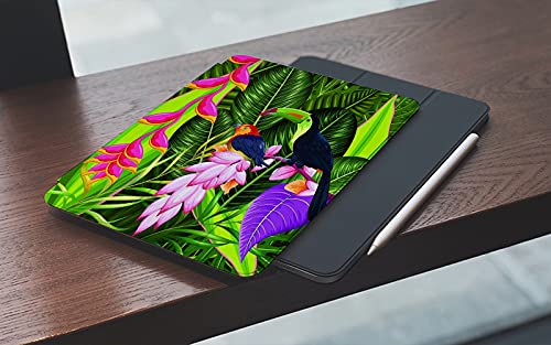 MEMETARO Funda para iPad 10.2 Pulgadas,2019/2020 Modelo, 7ª / 8ª generación,Fondo Tropical exótico con Flores de Colores y tucán Smart Leather Stand Cover with Auto Wake/Sleep