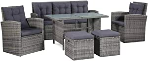 BigBanana 6 Piece Garden Lounge Set with Cushions Poly Rattan Gray