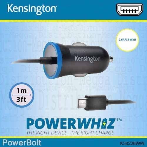 Kensington - PowerBolt 2,6 amp/13 W, supersnelle micro-USB-oplaadkabel, autolader voor smartphones, tablets, e-readers, navigatiesystemen, draadloze hoofdtelefoon/luidsprekers en andere apparaten - met Smart-Intelligent-PowerWhizz-technologie, die veilig de optimale prestaties selecteert om je apparaat tegen schade op lange termijn te beschermen.