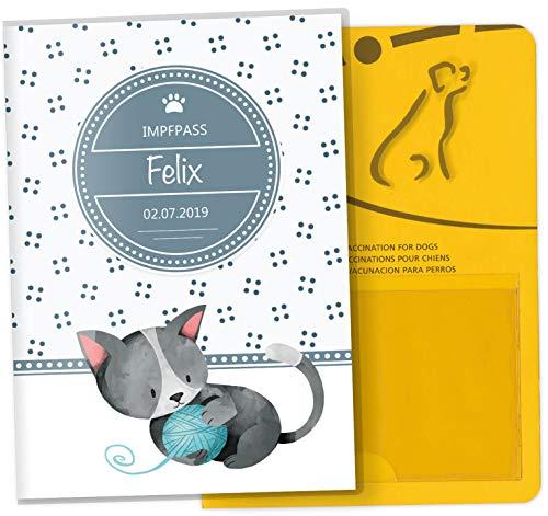 Impfpass Hülle für Tiere Lovely Kittens Tierausweis Schutzhülle schöne Geschenkidee personalisierbar mit Namen und Geburtsdatum (Felix, Impfpasshülle personalisiert)