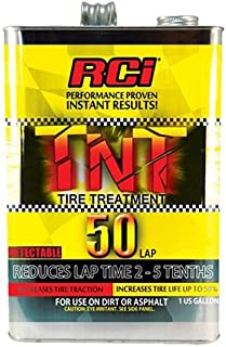 NEW RCI TNT ECONOMY TIRE SOFTENER, DETECTABLE RACING TIRE TREATMENT FOR USE UP TO 50 LAPS, 1 GALLON, REDUCES LAP TIMES 2-5 TENTH, FOR USE ON DIRT & ASPHALT, INCREASES TRACTION & TIRE LIFE UP TO 50%
