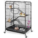 ZENY 37' Ferret Cage Rabbit Guinea Pig Chinchilla Small Animal House 4 Levels (Black)