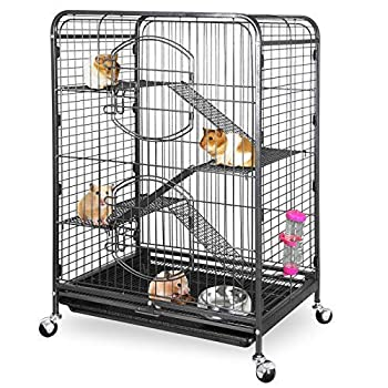 ZENY 37  Ferret Cage Rabbit Guinea Pig Chinchilla Small Animal House 4 Levels  Black