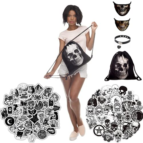 Grunge Aesthetic Goth Accessories Gift Set – 100 Pcs Goth Stickers - 1 Gothic Skull Bag – 2 Black Face Covering Washable – 1 Heart Necklage