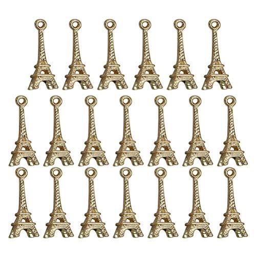 TENDYCOCO - 20 Colgantes Vintage de la Torre Eiffel de aleación para Collar, Pulsera, Bricolaje, bisutería, Accesorios (Dorado)