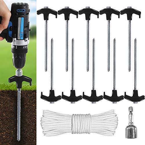 ABCCANOPY Ground Anchor Screw Kit, Drillable Garden Shed Stakes, Ideal for Anchoring Trampoline, Tree, Swing, Bonus Adapter, tie-Downs, Black