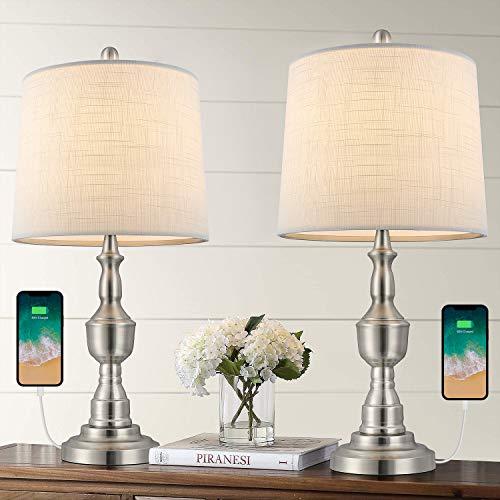 BOBOMOMO Juego de 2 lámparas de mesa USB de 22.25 pulgadas, para mesita de noche de metal para dormitorio, sala de estar, color plateado