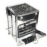 barbecue a carbone acciaio inossidabile barbecue grill grill stufa legno regolabile pieghevole stufa a legna brucia per la sopravvivenza cucina all'aperto cooking picnic hunting per picnic grigliare