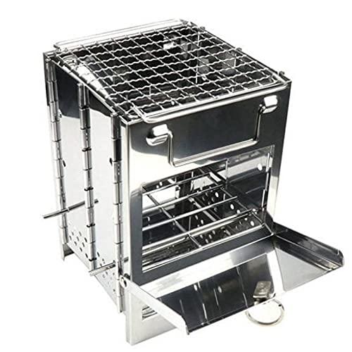 FEANG Grill Edelstahl Barbecue Grill Holzherd Verstellbarer Klappholzherd Brennen für das Überleben Outdoor Kochen Picknickjagd Grillwerkzeug