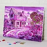 zlhcich Sala de Estar Decoraciones Figuras Pintura al óleo GX472 Candy House 40...