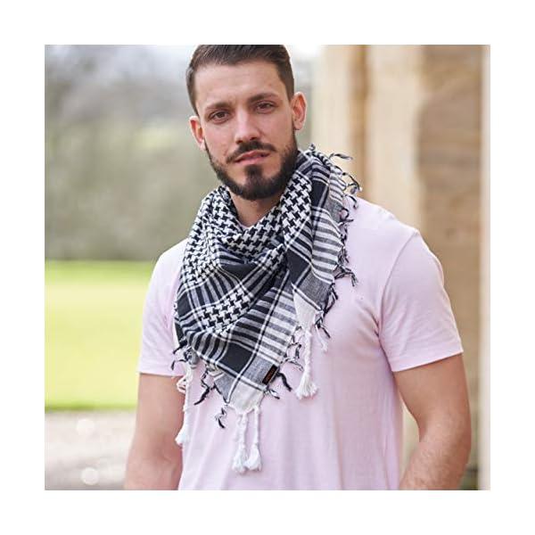 LOVARZI Shemagh Cotton Arab Keffiyeh Tactical Military Scarf Head Neck Face Wrap