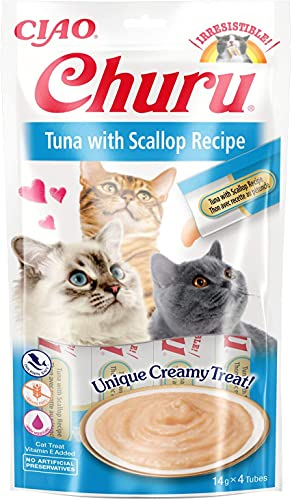INABA Churu Sticks - Lickable Cat Treats To Feed From Hand - Delicious And Healthy Snack for Cats - Tuna & Scallop