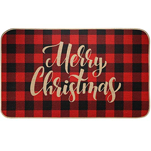 EasyAcc Christmas Decoration Outdoor Indoor Doormat for Entryway, 30 x 17 inches Entrance Welcome Door Mat Non Slip Washable Front Door Mats Stripes Rug - Red and Black