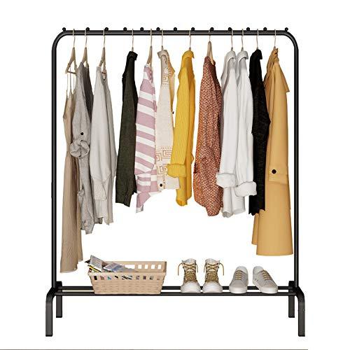 YAYI Drying Rack Metal Garment Rack Freestanding Hanger Bedroom Clothing Rack With Lower Storage Shelf for Boxes Shoes,Black