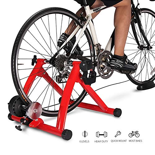 HWHSZ Magnetic Turbo Trainer, Bike Trainer Stand, Indoor Magnetic Bike Trainer Stand mit 6 Widerstandsstufen Faltbarer Fahrradträger, 20-28 Zoll, für Straßen- und Mountainbikes,Red
