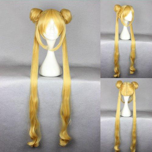 Ladieshair Cosplay Perücke blond 100cm glatt Sailor Moon Bunny Usagi Tsukino