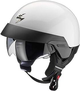 Scorpion EXO 100 Helm für Roller, Motorrad, Jet, Weiß, offenes Gesicht mit abnehmbarem Kragen und externem Visier