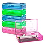 Gamenote Assorted Colors Plastic Pencil Case Box with Lid Snap Closure, Large Capacity School Supplies Storage Organizer Box for Kids (6)