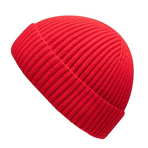 Unisex Fisherman Beanie Classic Cuff Knitted Hat Men Women Wool Skull Cap Original (Red(XL))