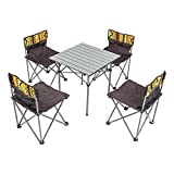 Deanurs Folding Camping Table 4 Chairs Set Portable Lightweight Seat Stool with Back, Outdoor Hiking...