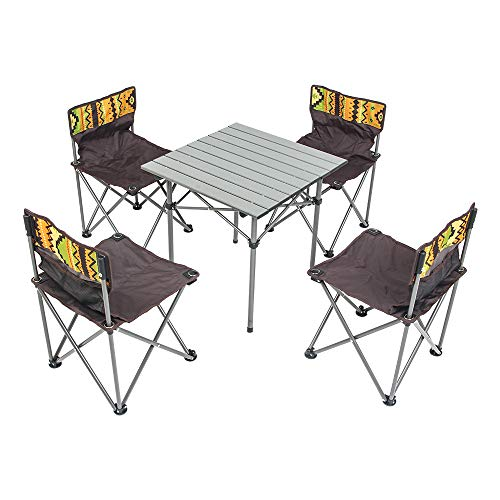 Deanurs Folding Table Camping Table 4 Chairs Set Portable Lightweight Seat Stool with Back, Outdoor Hiking Patio Beach Travel Picnic with Carrying Bag