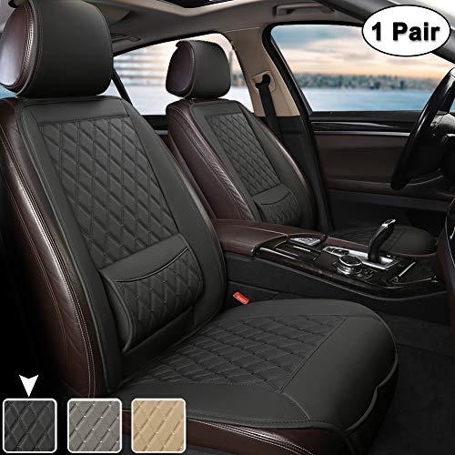 West Llama Universal Fit Auto Sitzauflagen, Autositzbezüge Vordersitze mit Lordosenstütze und Kopfstützenabdeckung, Diamant (1 Paar - Schwarz)