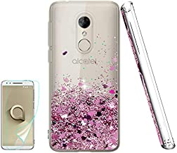 Atump Alcatel 3 Case, Revvl 2 Case [T-Mobile] with HD Screen Protector, Glitter Liquid Diamond Cute TPU Silicone Protective Phone Cover Case for Alcatel 3 Rose Gold