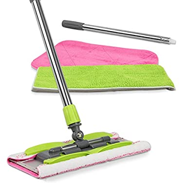 LINKYO Microfiber Hardwood Floor Mop - 3 Reusable Flat Mop Pads and Extension Included, For Wet or Dry Floor Cleaning