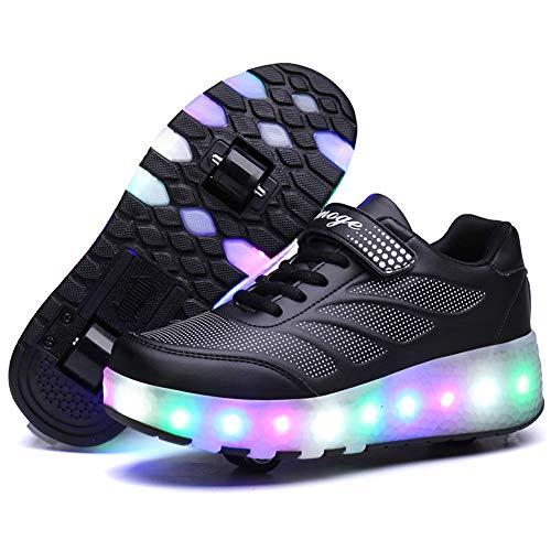 Recollect Kinder LED Schuhe mit Rollen Drucktaste Einstellbare Skateboardschuhe 1Räder/2 Räder Outdoor Gymnastik Turnschuhe Für Junge Mädchen,Black 2,34 EU