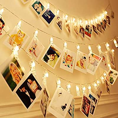 JMTGNSEP LED String Light 50 LEDs 50 Photo Clips for for Bedroom Wall Party Wedding Christmas Festival Indoor Outdoor Home Garden Decoration, 3AA Battery Operated (16ft Warm White)