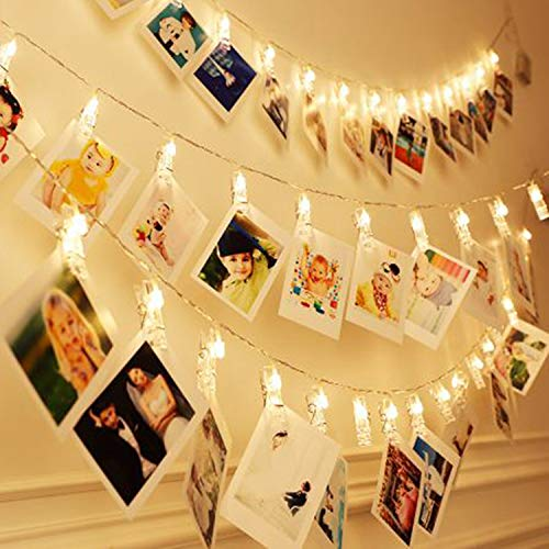 40 LEDs 20 Photo Clips String Fairy lights Battery Powered Decoration for Living Room Bedroom Indoor Christmas Party Wedding for Photo Picture Hanging display3AA Battery Operated 13ft Warm White