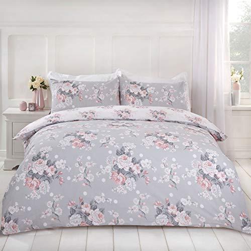 Dreamscene Juego edredón con Funda de Almohada Reversible, diseño de Rosas inglesas, Polialgodón, Gris Blush Blanco, Suelto