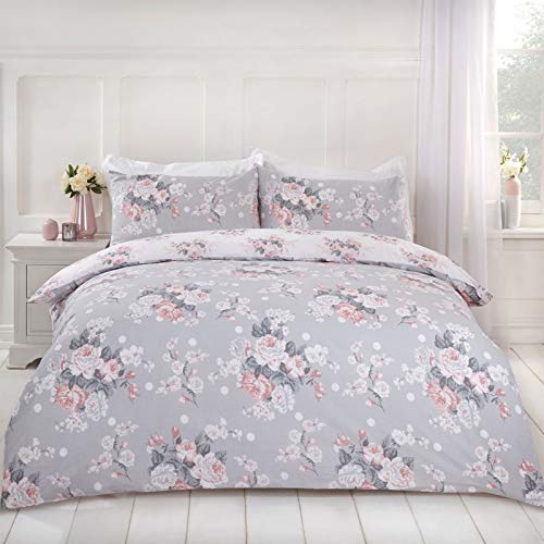 Dreamscene English Rose Duvet Cover with Pillow Case Reversible Floral Bedding Set, Grey Blush White, Double