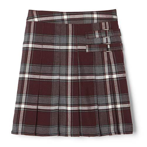 French Toast Girls' Plaid Two-Tab Scooter skirt, Burgundy Plaid 10,Big Girls