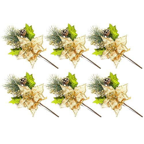 LAMF - Adorno de árbol de Navidad con Purpurina para árbol de Navidad, 6 Unidades, Dorado, 6 Unidades