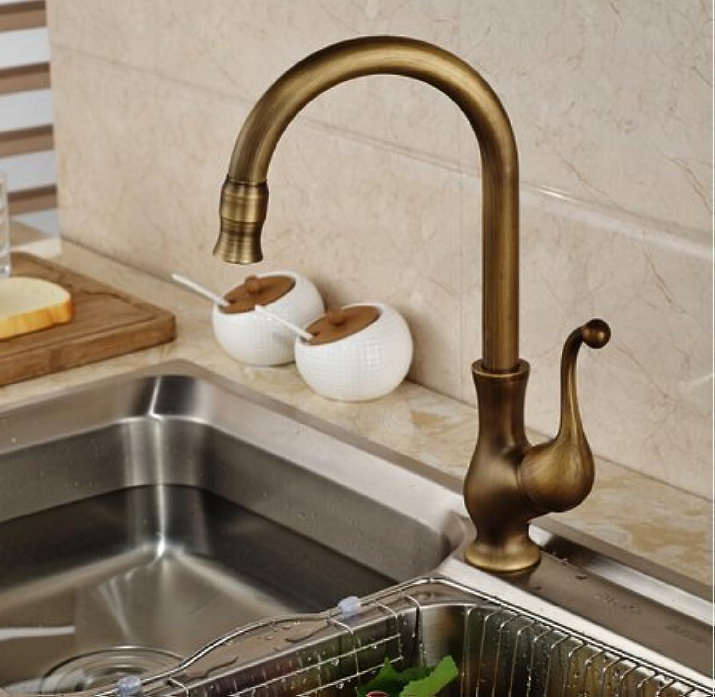 Diongrdk Kitchen Faucet Brass Antique Single Handle Kitchen Basin Sink Faucet Tap