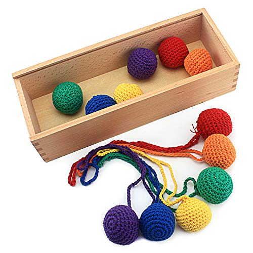 Frobel GABE Educational Teaching Aids12Pcs Knitted Balls with Box Baby Froebel Color Training Toys Froebel Grace GABE1 Games