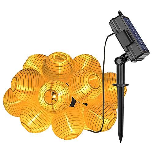 Lixada Solar Outdoor Lichtsnoer, 30 stuks 6,5 m LED-lampion lantaarn lichtketting buiten warm wit zonne-energie waterdicht decoratie voor tuin terras erf enz.