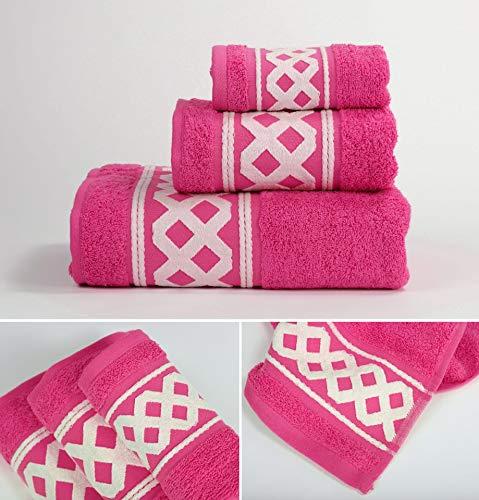 Energy Colors Textil - Hogar - Cenefa Siria - Juego de Toalla 3 Piezas 100% Algodón de 500 Gramos Ducha Lavabo y Vidé (Fuxia)