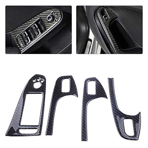 TINTABO Fensterheber Knopfleiste 4 STÜCKE Real Carbon Tür Armlehne Fensterheber Steuerschalter Taste Abdeckung Trim fit, Für Audi A4 A5 Q5 S4