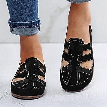 MFLB Zapato ortopédico súper Suave para Caminar para Mujer, Sandalias ortopédicas para Mujer, Zapatos de Playa para Mujer, Banda elástica ahuecada con Zapatos de Fondo Plano (Negro,38)