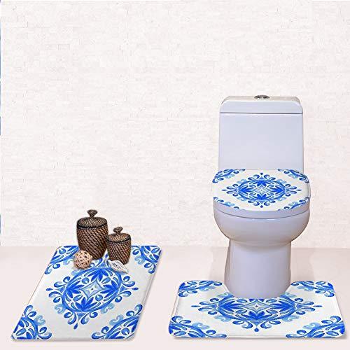 Door Mat Bathroom Rug Mats lid Toilet Bath Mat, arabsque Damask Watercolor Medallion Blue,3 Piece Set