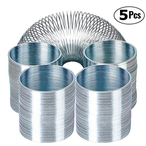 Bedwina Metal Spring Walking Spring Toy - (5 Pack) Bulk Metal Silver Coil Spring Toys for Party...