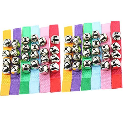ABOOFAN 12 pulseras de muñecos de Navidad para muñecos de tobillo musicales, sonajeros, campanas, anillo de juguete para fiestas de Navidad, regalos para niños pequeños (color al azar)