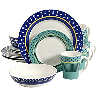 Gibson 16 Piece Lockhart Dinnerware Set, Blue/White