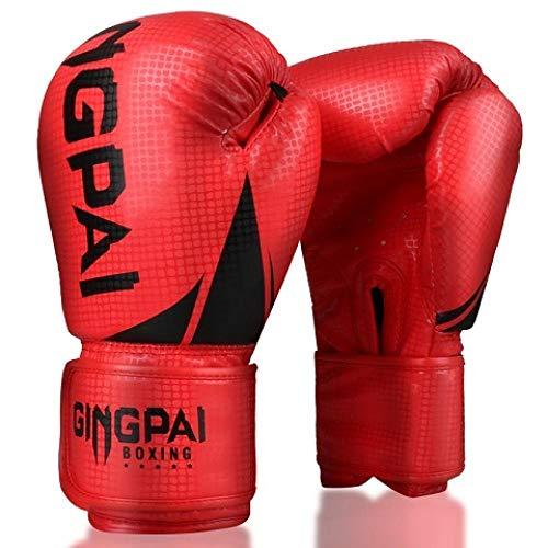 8-12 Pelle OZ Muay Thai in Microfibra Guantoni da Boxe for Adulti Uomini delle Donne MMA Gym Training di Grant Guanti Pugilato Attrezzature Zzib (Color : 2S Red, Size : 8oz)